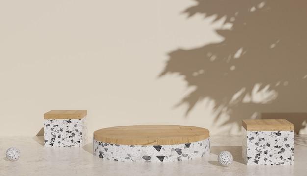 Sfondo 3d che rende moderno terrazzo bianco minimale e podio a gradini in legno cubo