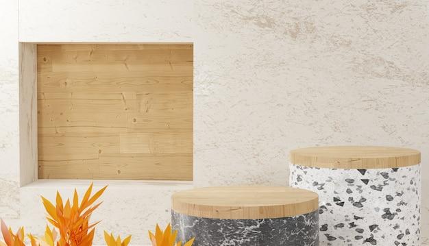 Sfondo 3d che rende moderno terrazzo bianco minimale e podio a gradini in legno