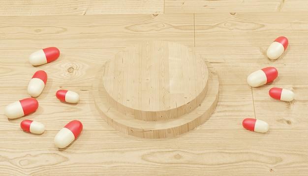 Sfondo 3d che rende le pillole rosse sparse intorno al podio di legno per il tema della farmacia delle pagine web