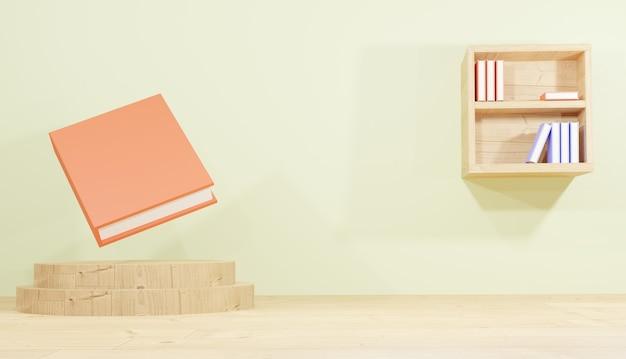 Sala di rendering di sfondo 3d con podio e libreria contenente libri per lezioni a tema scolastico
