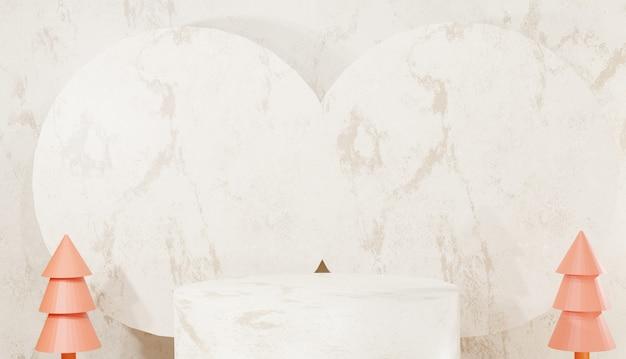 Fondo 3d che rende podio di marmo d'argento minimo passi di base vuoti e alberi con spazio di copia