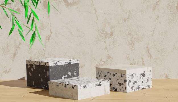 Rendering di sfondo 3d vista podio terrazzo e foglie su sfondo marmo foto premium