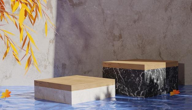 3d rendering di sfondo terrazzo podio vista nel mezzo dell'acqua e lascia il tema autunnale