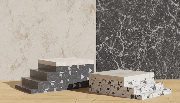 Rendering di sfondo 3d vista podio terrazzo e gradini laterali con sfondo in marmo foto premium