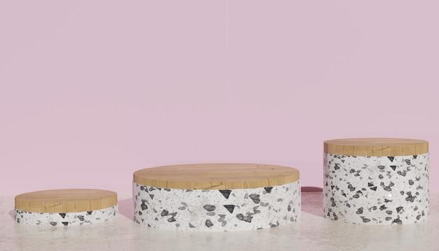 3d rendering di sfondo vista di 3 podi terrazzo bianco su pavimento in marmo