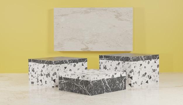 Rendering di sfondo 3d foto premium del display del podio del terrazzo bianco e nero