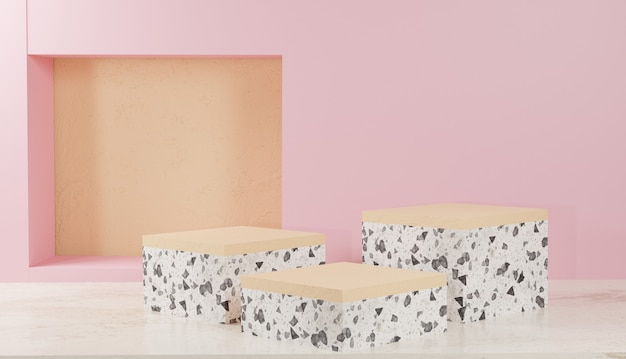 Rendering di sfondo 3d display a podio in terrazzo bianco con foto premium di sfondo rosa