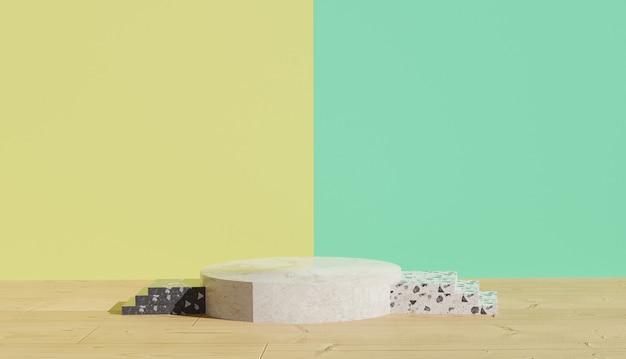 Sfondo 3d che rende la vista sul podio del terrazzo bianco con le scale accanto sfondo colorato