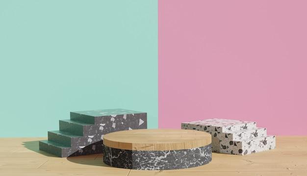 Sfondo 3d che rende la vista sul podio del terrazzo bianco con le scale accanto sfondo color pastello