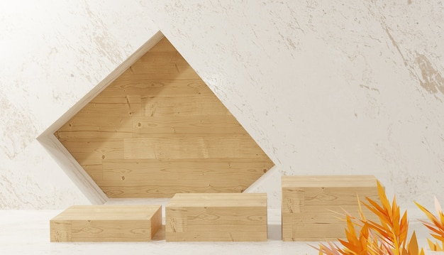 Sfondo 3d che rende la vista del podio in legno e foglie su sfondo ceramico