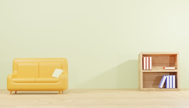 Rendering di sfondo 3d stanza del divano e libreria per lezioni per il tema della scuola delle pagine web
