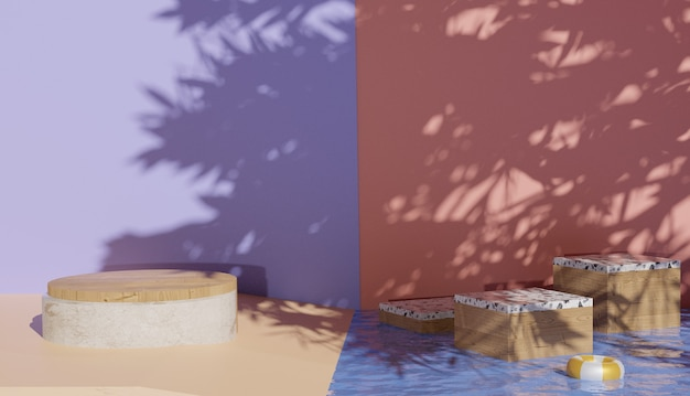 Sfondo 3d che mostra la vista del podio in marmo e l'acqua limpida con foto premium ombra