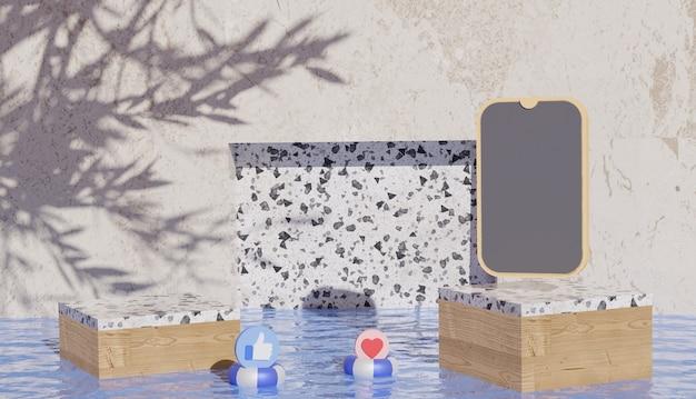 Sfondo 3d che mostra la vista del podio in marmo con smartphone e simboli dei social media sull'acqua