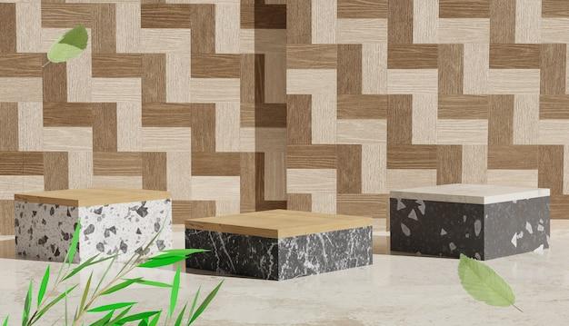 Sfondo 3d con podio in marmo e foglie di fondo in legno