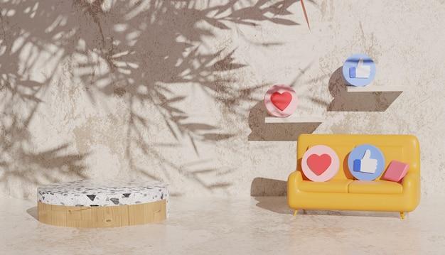 Sfondo 3d con podio in marmo e simboli dei social media sul divano