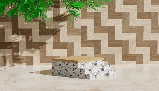 Sfondo 3d con podio in marmo e scale accanto per visualizzare i prodotti