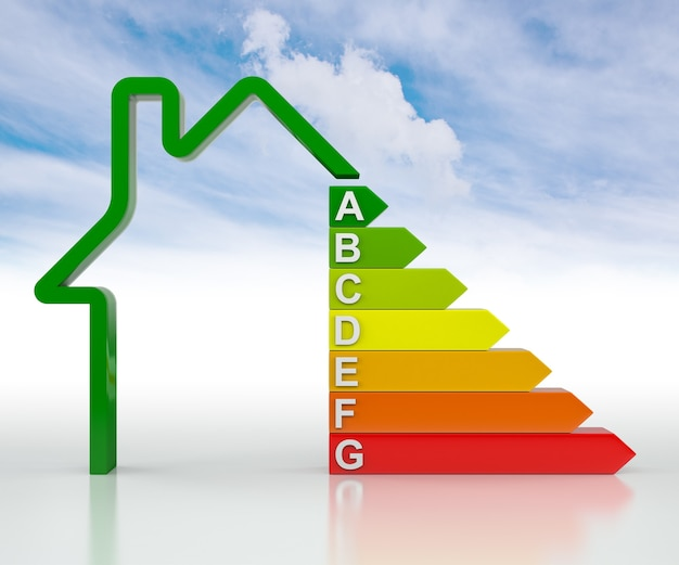 Grafico a barre 3d home, concetto di efficienza energetica, isolato su cielo blu. rendering 3d