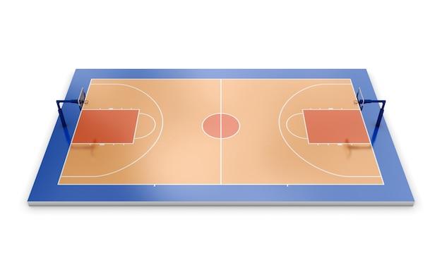 Campo di pallacanestro 3d isolato su priorità bassa bianca. illustrazione 3d.