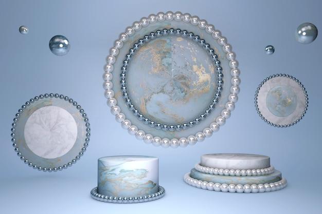 Podio cilindro 3d con bellissimo effetto marmo blu con motivo oro e bordo e cerchio con decorazione di perle bianche brillanti su sfondo blu pastello.