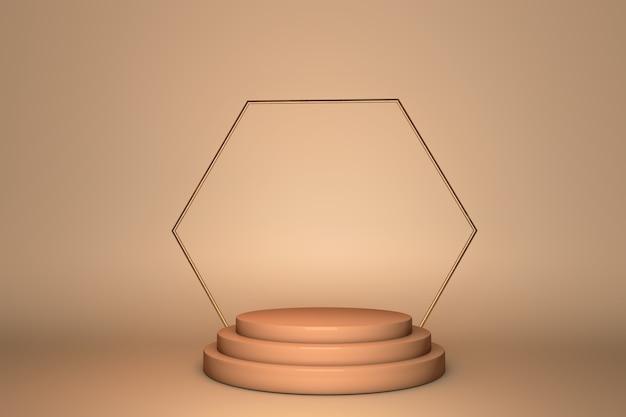 Esposizione del podio beige 3d. copia lo sfondo dello spazio. mockup di promozione di prodotti cosmetici o di bellezza.