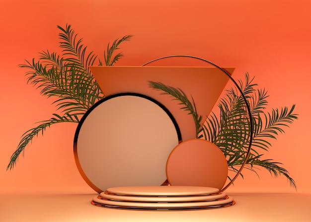 Piedistallo geometrico astratto arancione dell'ansa 3d. le vibrazioni estive colorano il design minimale del podio con palme tropicali. studio di sfondo podio per prodotti cosmetici.