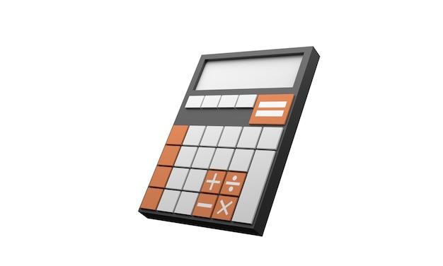 Icona calcolatrice colore nero 3d con pulsante
