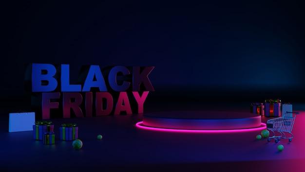 3d black friday podio di bagliore di luce al neon.