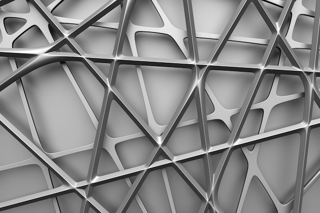 Illustrazione 3d di rete metallica nera. fondo strutturato dell'ornamento astratto luminoso.