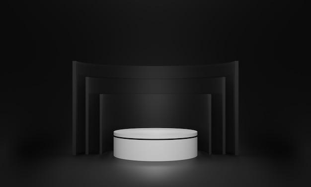 Podio in bianco e nero 3d