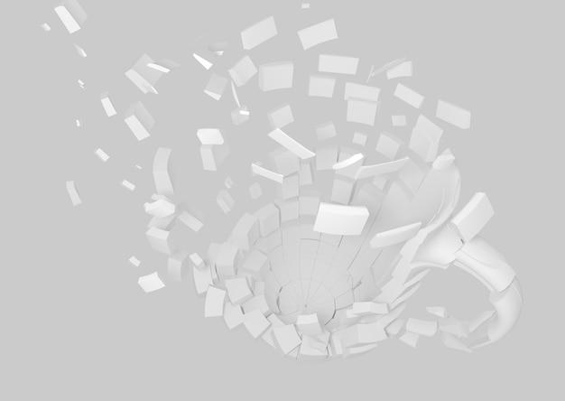 Fondo dell'elemento di progettazione della rappresentazione della tazza fatta saltare 3d