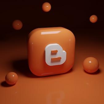 Applicazione logo blogger 3d