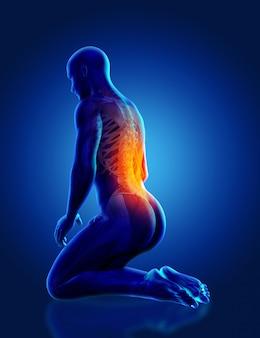 Figura medica maschio blu 3d che si inginocchia con la colonna vertebrale evidenziata