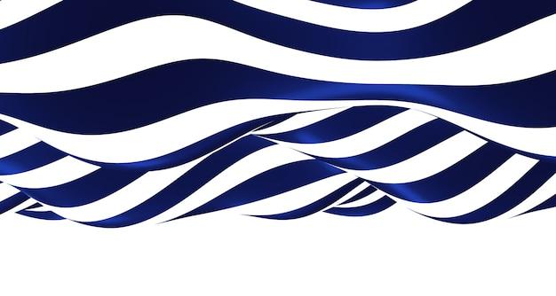 Illustrazione di ondulazione blu e bianco 3d grafica di sfondo dell'onda ondulato semplice in movimento come un fiume