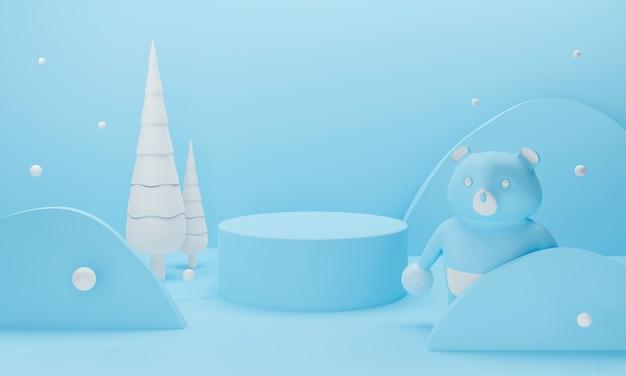 Podio invernale blu 3d su sfondo pastello con albero di natale