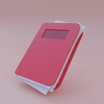 Icona del libro 3d con sfondo rosso