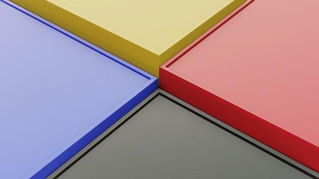 Forme di scatole 3d con colore giallo nero blu rosso