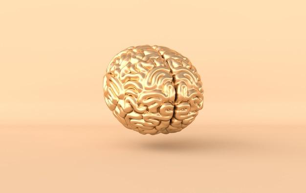Rendering 3d del cervello, idea creativa mente umana intelligenza artificiale