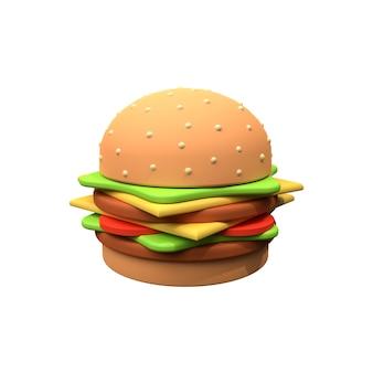 Illustrazione dell'hamburger 3d isolata su bianco. illustrazione 3d di hamburger