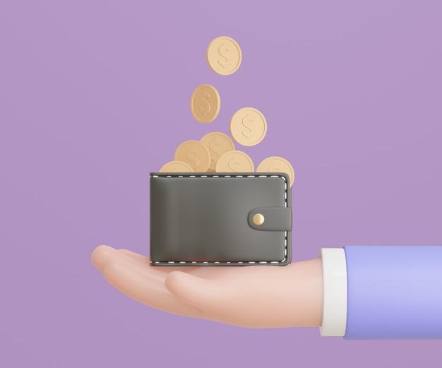 Mano di uomo d'affari 3d con moneta d'oro portafoglio nero su sfondo viola. risparmio di denaro, pagamento online e concetto di pagamento. rendering 3d dell'illustrazione.