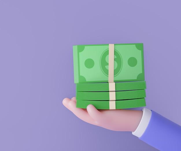 Mano dell'uomo di affari 3d con la banconota dei soldi della pila su fondo porpora. rendering 3d dell'illustrazione.