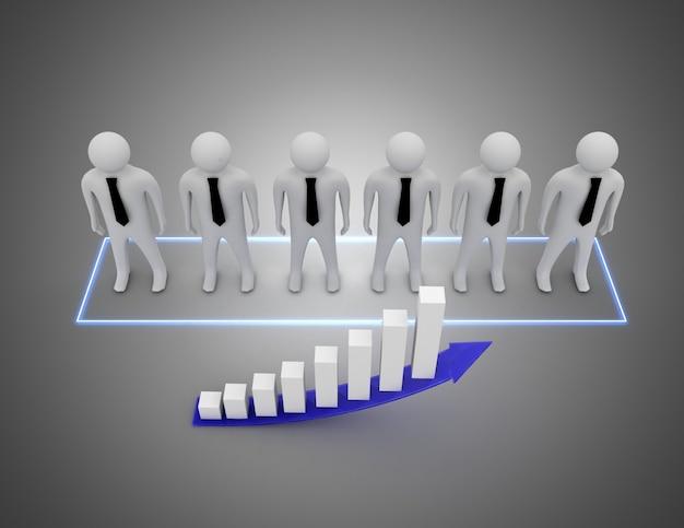 Gente di affari 3d con illustrazione di affari graph.3d3