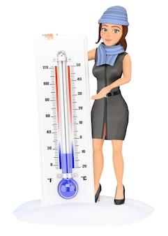 Donna di affari 3d con il termometro a freddo sulla neve
