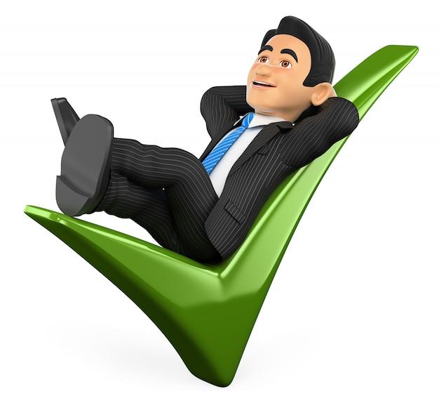 Uomo d'affari 3d che si trova su un segno di spunta verde
