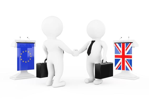 3d uomo d'affari o personaggi politici che agitano le mani vicino a tribune con bandiere del regno unito e dell'unione europea su sfondo bianco. rendering 3d