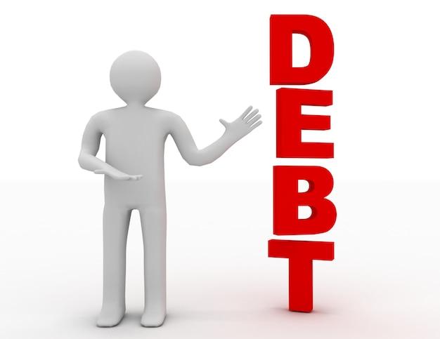 3d uomo d'affari che presenta il concetto di parola debito isolato sfondo bianco