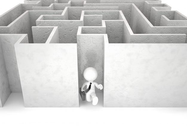 Uomo d'affari 3d che esaurisce labirinto. isolato. contiene il tracciato di ritaglio