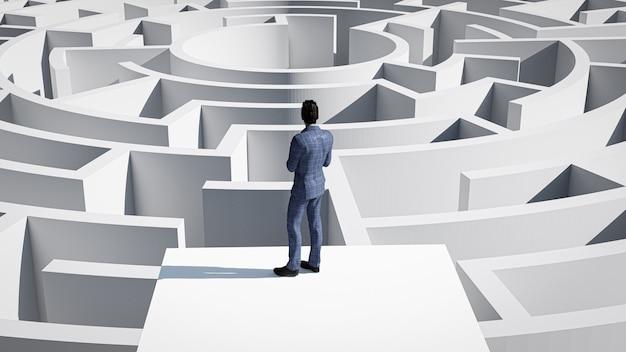 Uomo d'affari 3d in piedi davanti al labirinto. concetto di successo.