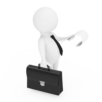 3d uomo d'affari con valigetta in pelle nera e un foglio di carta in mano su uno sfondo bianco. rendering 3d