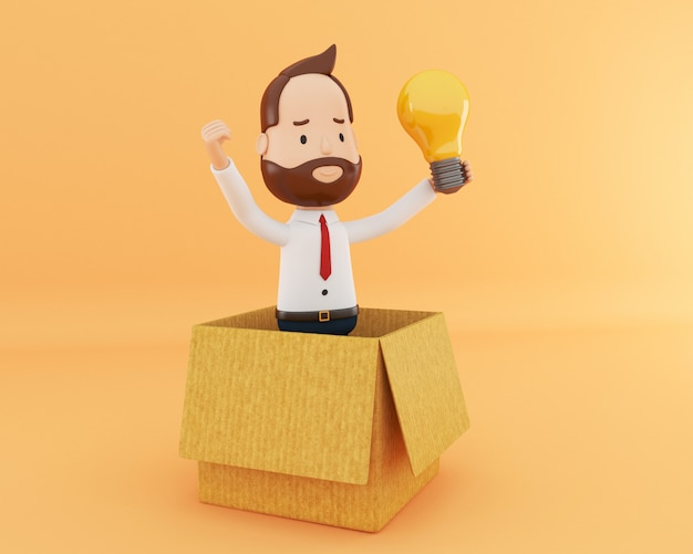 Uomo d'affari 3d con la lampadina