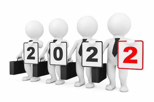 3d businessmans con il nuovo anno 2022 segno su uno sfondo bianco. rendering 3d